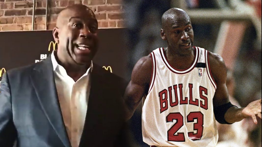 magic johnson michael jordan shrug moment