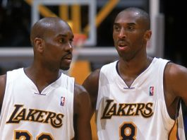 Kobe Bryant and Gary Payton in Lakers uniform