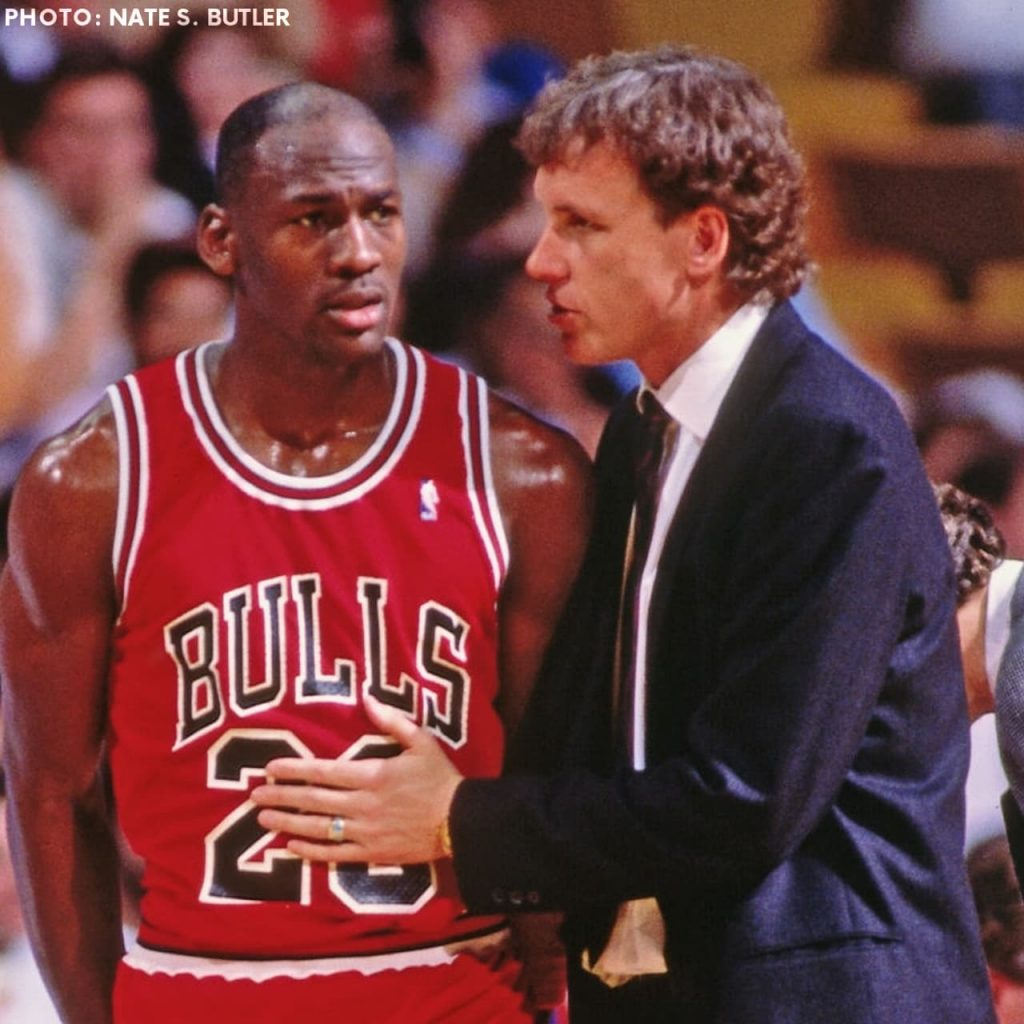 Michael Jordan and the Bulls head coach Doug Collins