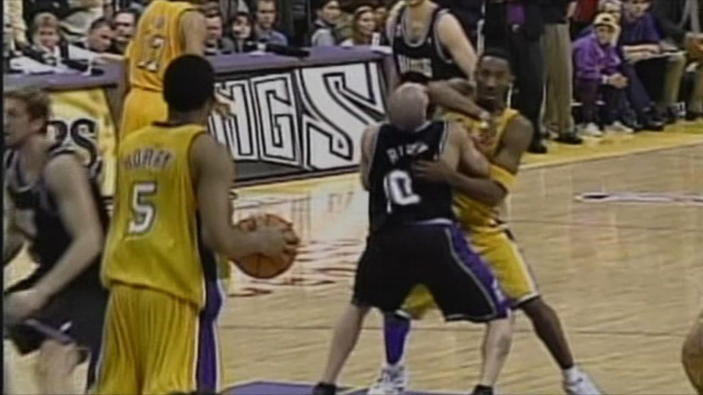 Lakers Vs. Kings 2002 Game 7 Kobe elbows Mike Bibby